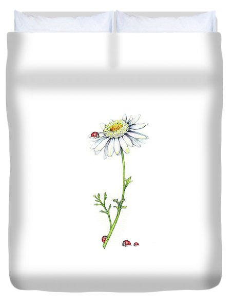Duvet Cover featuring the painting One Daisy And Four Ladybugs by Heidi Kriel