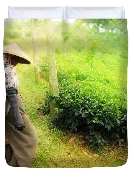 One Day In Tea Plantation  Duvet Cover