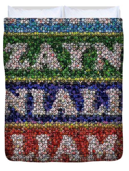 One Direction Names Bottle Cap Mosaic Duvet Cover by Paul Van Scott