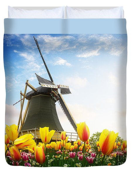 One Dutch Windmill Over  Tulips Duvet Cover