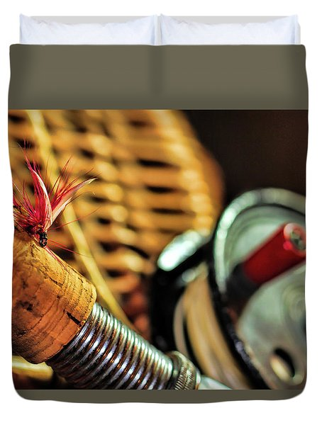 One Fly One Rod One Creel Duvet Cover by Pat Cook