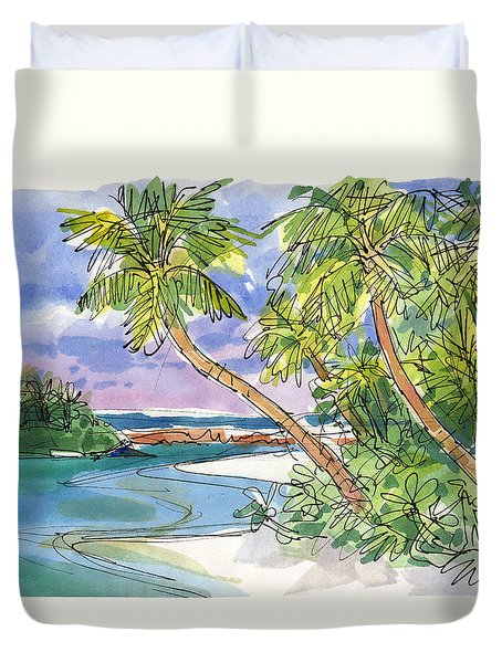 Duvet Cover featuring the painting One-foot-island, Aitutaki by Judith Kunzle