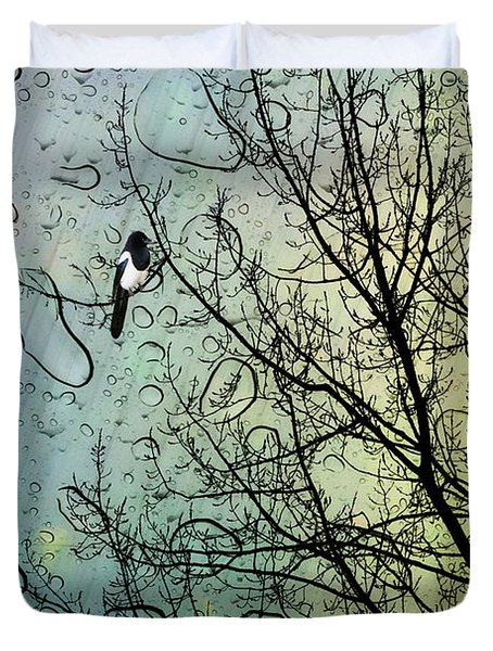 One For Sorrow Duvet Cover by John Edwards