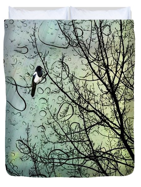 One For Sorrow #nurseryrhyme Duvet Cover by John Edwards