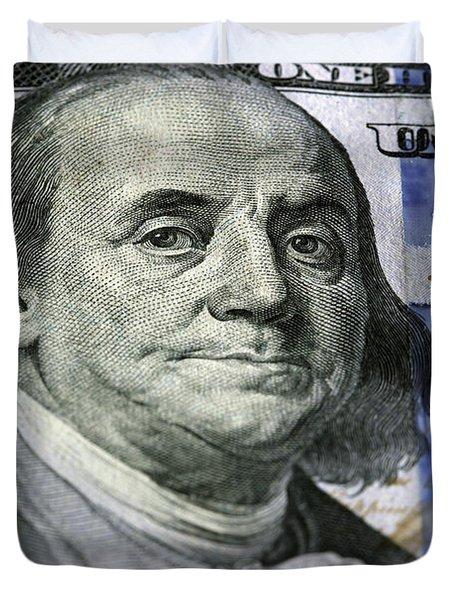 One Hundred Dollar.focus On Benjamin Franklin Duvet Cover