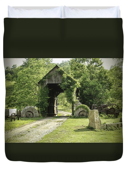 One Lane Covered Bridge Duvet Cover