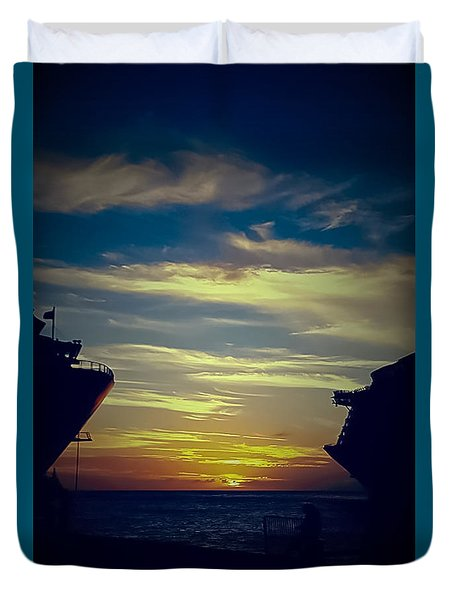 Duvet Cover featuring the photograph One Last Glimpse by DigiArt Diaries by Vicky B Fuller