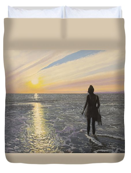 One Last Paddle Duvet Cover by Paul Newcastle