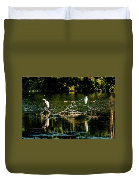 Duvet Cover featuring the photograph One Legged Egrets by Onyonet  Photo Studios
