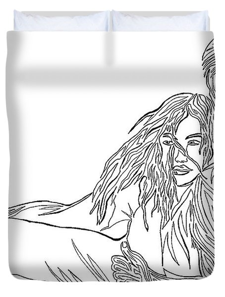 Duvet Cover featuring the mixed media One Line Drawing Lovers On The Beach by Vicki  Housel
