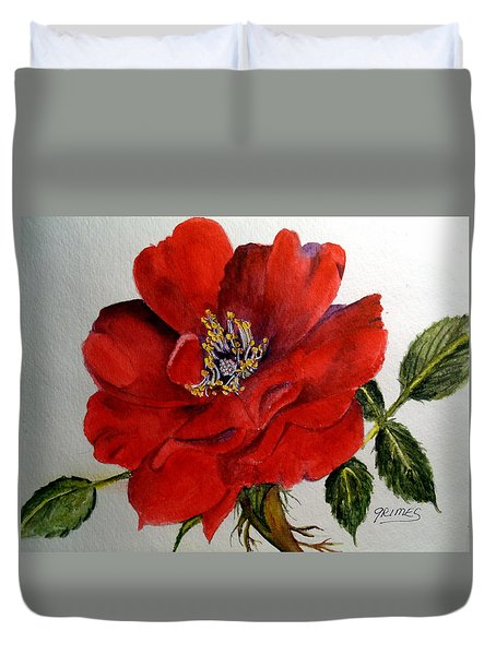 One Lone Wild Rose Duvet Cover by Carol Grimes