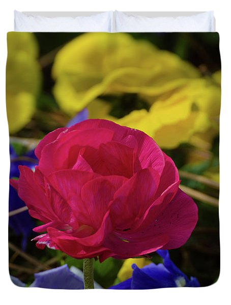 One Lonely Red Flower Duvet Cover