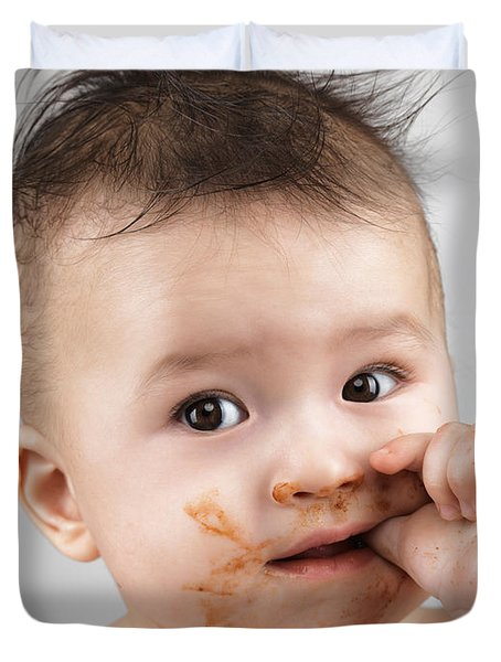 One Messy Baby Boy Sucking His Thumb Duvet Cover by Oleksiy Maksymenko