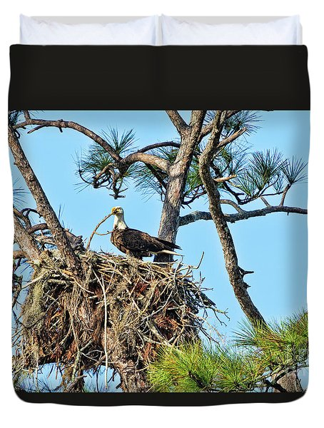 Duvet Cover featuring the photograph One More Twig by Deborah Benoit