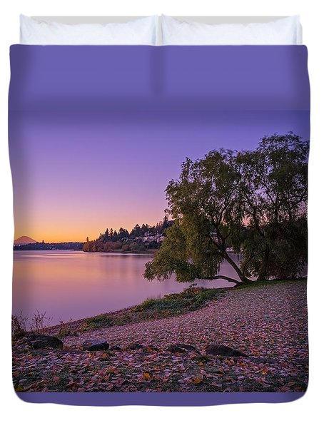 One Morning At The Lake Duvet Cover by Ken Stanback