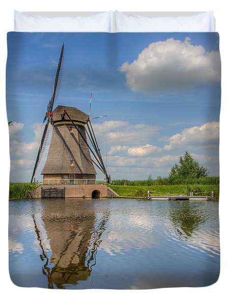 One Of The Kinderdijk Windmills In Holland Duvet Cover