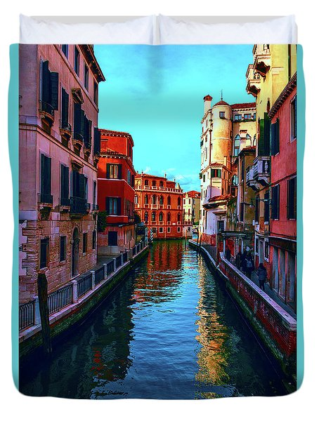 one of the many beautiful old Venetian canals on a Sunny summer day Duvet Cover