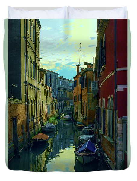 one of the many Venetian canals at the end of a Sunny summer day Duvet Cover