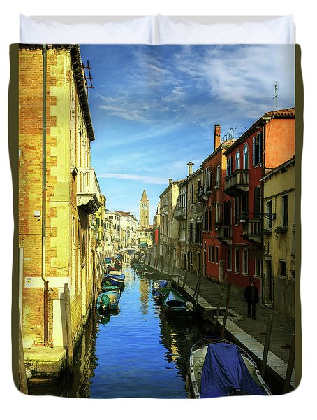 one of the many Venetian canals on a Sunny summer day Duvet Cover
