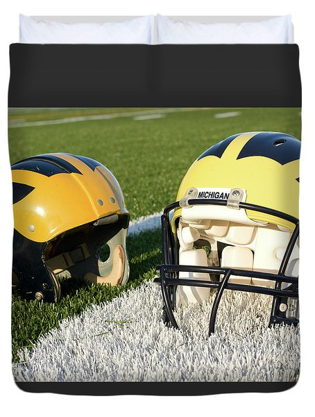 One Old, One New Wolverine Helmets On The Field Duvet Cover