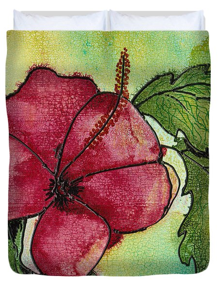 One Pink Hibiscus Duvet Cover by Susan Kubes