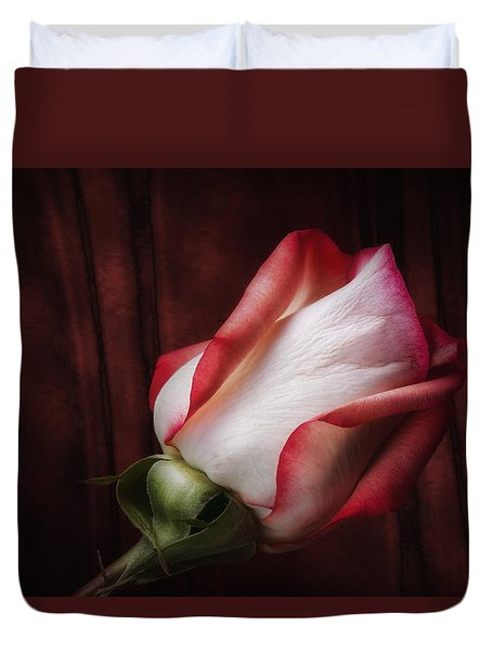 One Red Rose Still Life Duvet Cover by Tom Mc Nemar