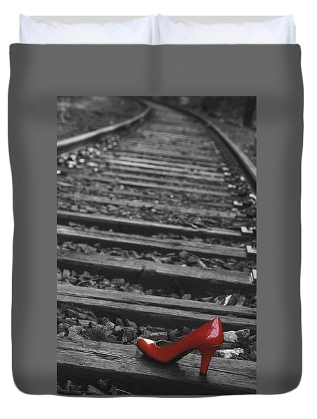 One Red Shoe Duvet Cover by Patrice Zinck