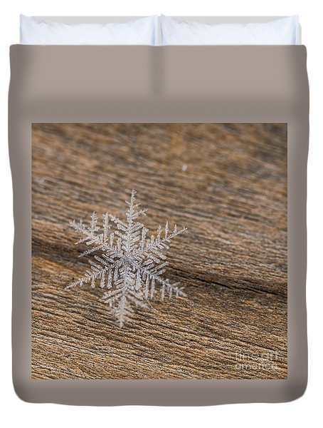 Duvet Cover featuring the photograph One Snowflake by Ana V Ramirez