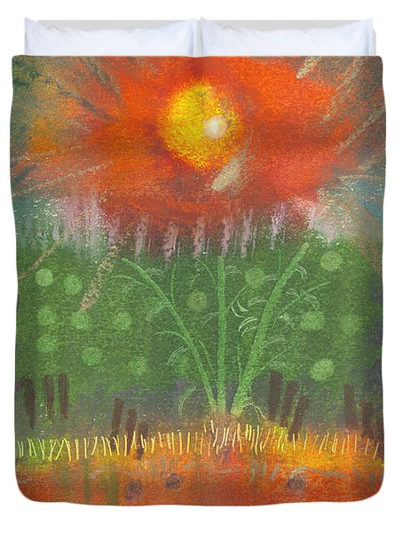 Duvet Cover featuring the painting One Sunny Day by Angela L Walker