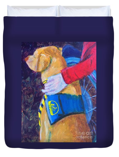 Duvet Cover featuring the painting One Team Two Heroes 3 by Donald J Ryker III