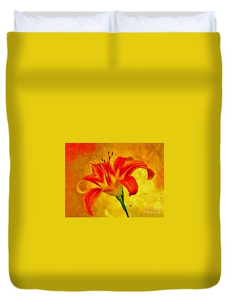 Duvet Cover featuring the photograph One Tigerlily by Marsha Heiken