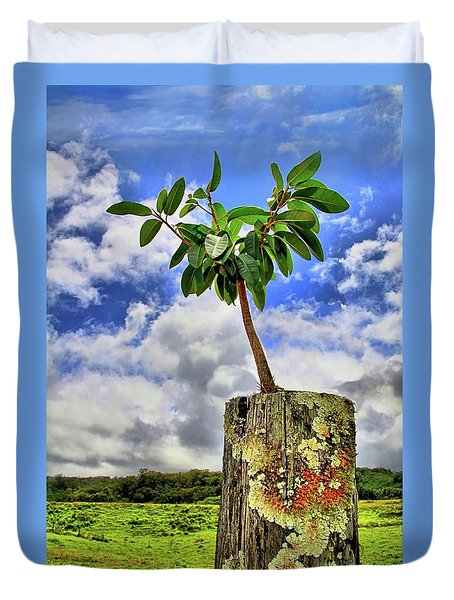 Duvet Cover featuring the photograph One Tree One Post by DJ Florek