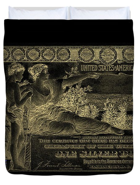 Duvet Cover featuring the digital art One U.s. Dollar Bill - 1896 Educational Series In Gold On Black  by Serge Averbukh