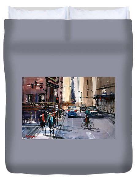 One Way Street - Chicago Duvet Cover
