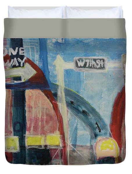 Duvet Cover featuring the painting One Way To 7th Street by Susan Stone