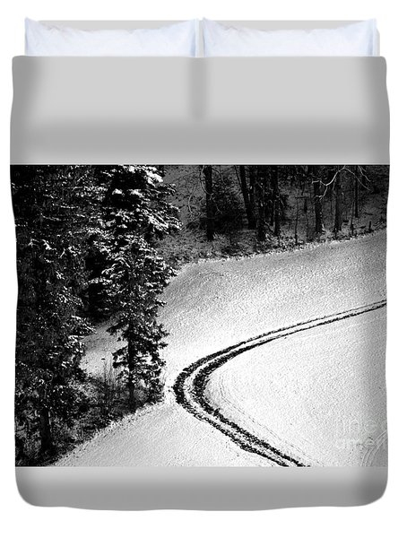 Duvet Cover featuring the photograph One Way - Winter In Switzerland by Susanne Van Hulst