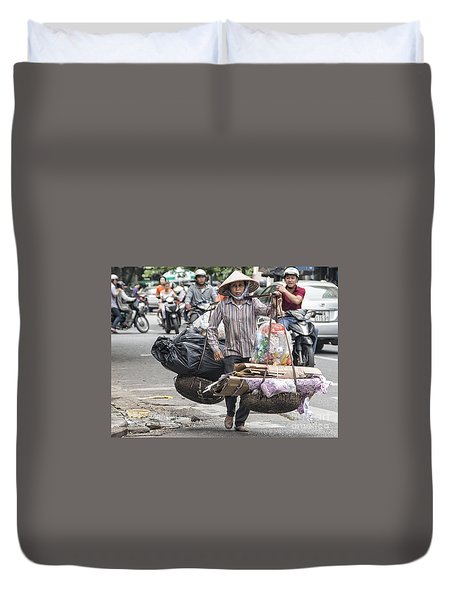 One Woman Street Life Hanoi Duvet Cover