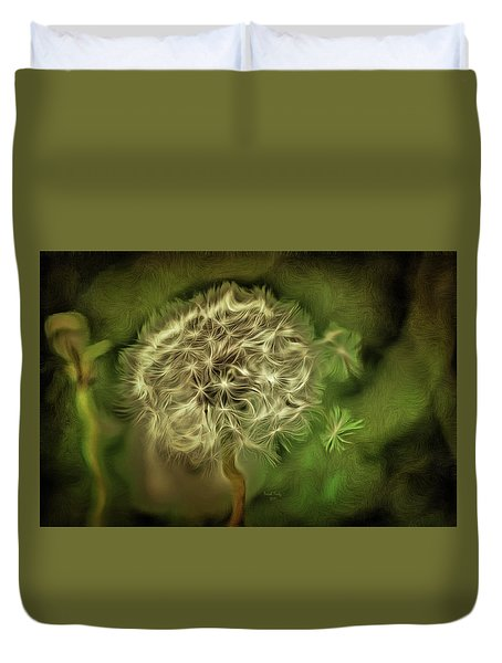 Duvet Cover featuring the mixed media One Woman's Wish by Trish Tritz