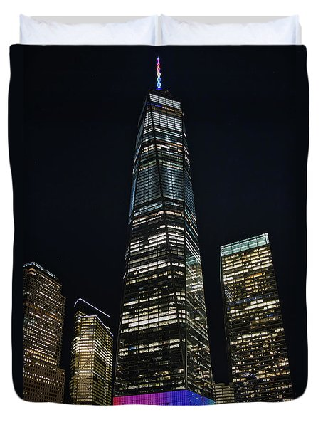 Duvet Cover featuring the photograph One World Trade Center by Mark Dodd