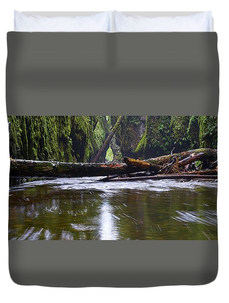 Duvet Cover featuring the photograph Oneonta Pano by Jonathan Davison