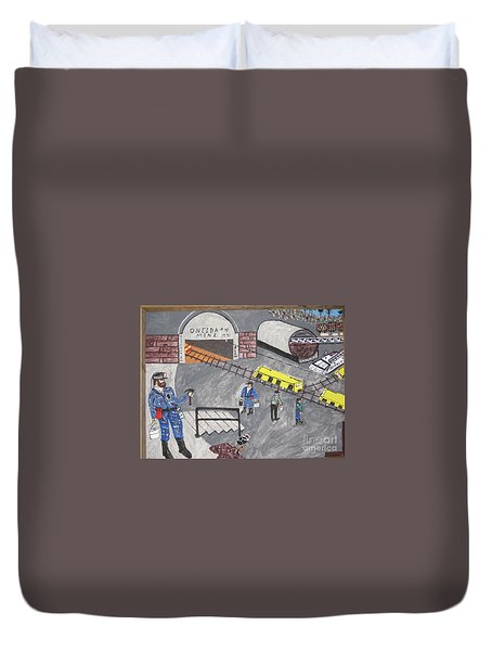 Duvet Cover featuring the painting Onieda Coal Mine by Jeffrey Koss