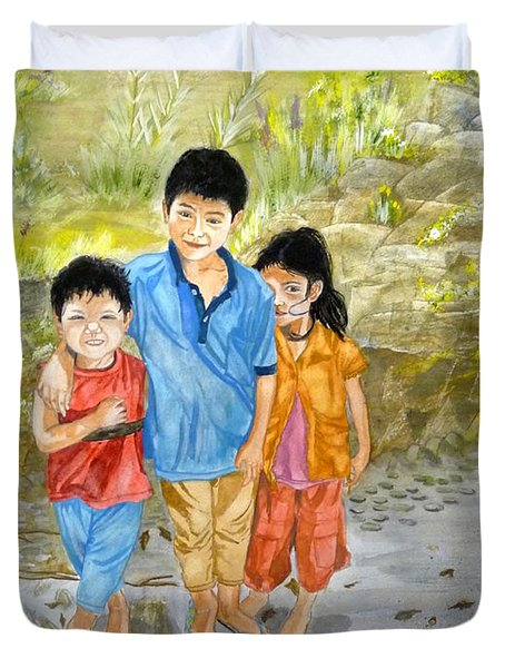 Duvet Cover featuring the painting Onion Farm Children Bali Indonesia by Melly Terpening