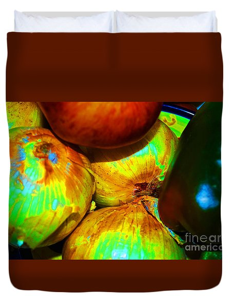 Onions Apples Pepper Closeup Duvet Cover