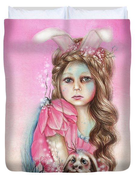 Only Friend In The World - Bunny Duvet Cover by Sheena Pike