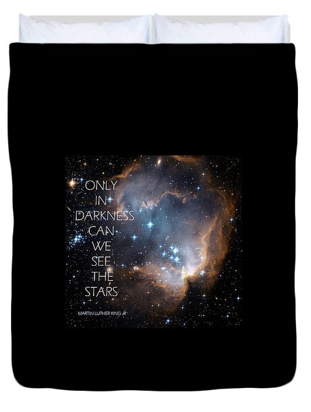 Duvet Cover featuring the digital art Only In Darkness by Lora Serra
