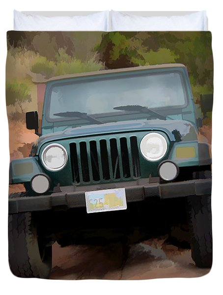 Duvet Cover featuring the digital art Only Jeeps Here by Gary Baird