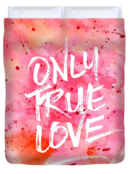 Only True Love Handpainted Abstract Watercolor Red Pink Orange Duvet Cover