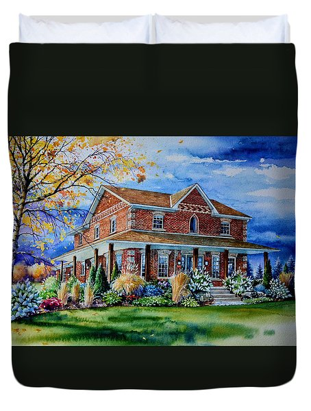 Duvet Cover featuring the painting Ontario House Portrait  by Hanne Lore Koehler