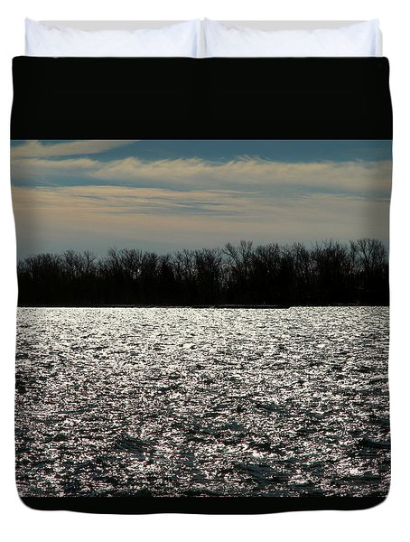 Duvet Cover featuring the photograph Ontario Winter Reflections by Valentino Visentini