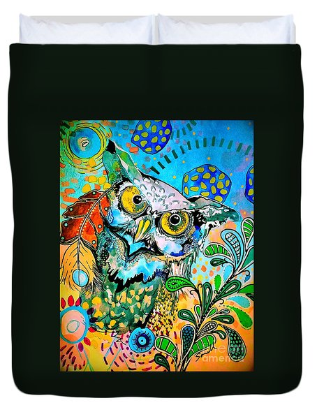 Oogke Owl Duvet Cover by Amy Sorrell